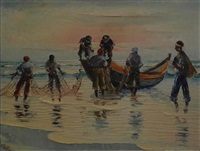 fisherfolk on the beach by adelio zeelie (zagnie)