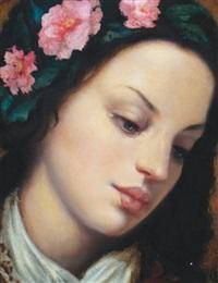 girl with camellias by ken hamilton