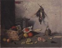 stilleben mit früchten, gemüsen und zinn by josef langheinrich