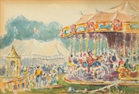 circus with merry go round by reynolds beal