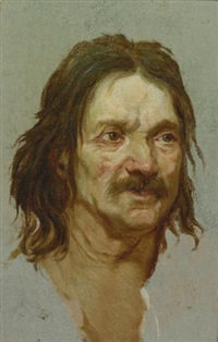 head of a man with a moustache and head of a young man turned to his right (pair) by étienne-louis advinent