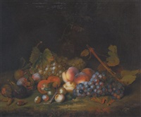 stillleben mit trauben, pfirsichen, pflaumen, feigen und haselnüssen by william smith