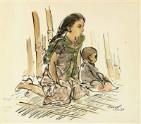 untitled (two children) by zainul abedin