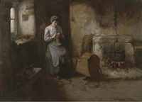 knitting socks, a mother and baby in a kitchen interior by henry john dobson
