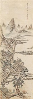 溪山秋色 (landscape) by wen boren