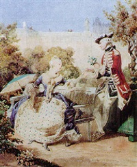 declaration of love in the garden of a château by jean louis david