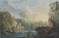 flusslandschaft mit wäscherinnen und fischern; landschaft mit ruinen und wanderern by carlo bonavia