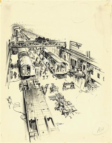 a train assembly line 9 others 10 works by terence cuneo