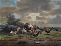 chickens in a landscape (+ another; pair) by george lambert