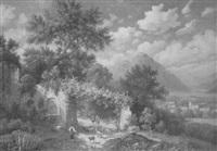 romantische italienische landschaft mit schafhirten by anna lehmann