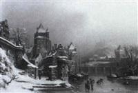 mittelalterliches verschneites städtchen am fluß by f. müller
