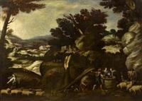 weite bergige landschaft mit hirten und ihrem vieh by francisco collantes