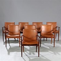 a set of eight chairs with brazilian rosewood frames by larsen vermund