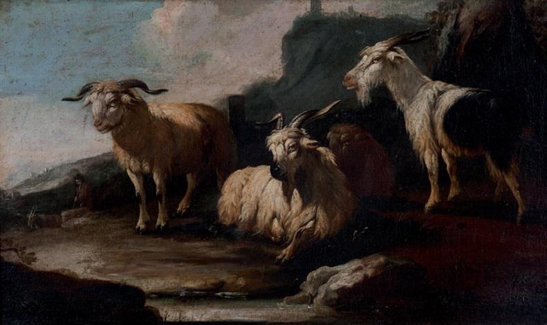 pastore a riposo con capre e montone in un paesaggio roccioso cane a guardia di un gregge in un paesaggio roccioso 2 works by philipp peter roos