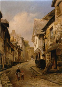 figures on a french street, a castle beyond by v. de w. jackson