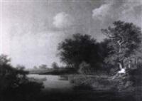 landschaft mit waldweg im sonnenuntergang by johann christian michael ezdorf
