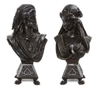 a pair of french patinated metal orientalist busts depicting a moorish man and woman by anonymous (19)