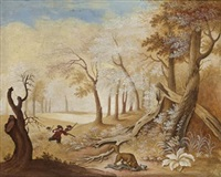 landskap med jaktsällskap (+ 2 others; 3 works) by johanne marie (mme. westengaard) fosie