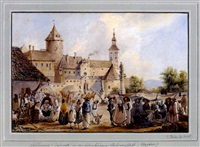 lebhaftes markttreiben vor malerischem schloss, schlaiming (szalawak) in ungarn by carl reiner