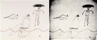 tre amici (diptych, incl. a silkscreen ink on paper laid on canvas) by jean-michel basquiat, francesco clemente and andy warhol