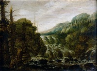 a mountainous wooded landscape with a man resting beside a cascade, a hill top town in the distance by joachim govertsz camphuysen