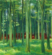 forest scene in green by knud agger