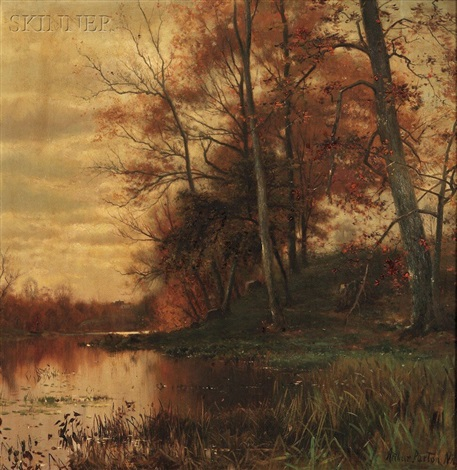 by the pond shore autumn by arthur parton
