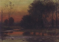 woodland sunset by john elwood bundy