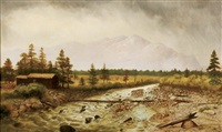 landscape with fallen tree over river and mountains behind by howard streight