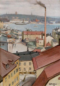 hustak i stockholm - vy mot slussen by carl einar (figge) fredriksson