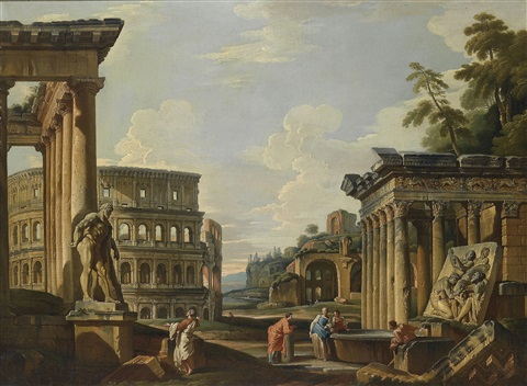capriccio mit römischen ruinen dem tempel von antonius und faustina dem kolosseum der maxentiusbasilica und dem herkules farnese another similar pair by giovanni paolo panini