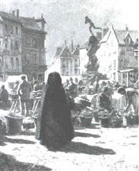 market scene, antwerp by frederick-davenport bates