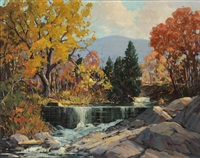 autumn river landscape with waterfall by robert shaw wesson