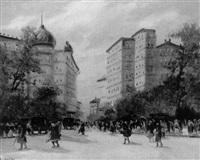 belebter boulevard im vorfrühling by anatol barkes