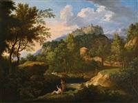 eine akardische landschaft mit figuren am fluss und einer stadt im hintergrund am hügel (+ another, similar; pair) by jan frans van bloemen