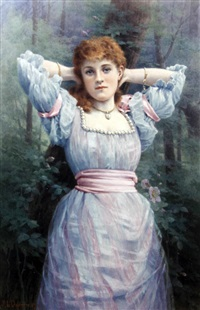 a young beauty, in a pink and white dress with pearls, in woodland by georgina m. de l' aubiniere