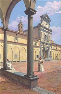 veduta della certosa di firenze (+ another, smllr; 2 works) by giovanni lessi