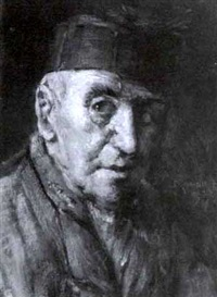portrait of a man wearing a cap by ludwig kandler
