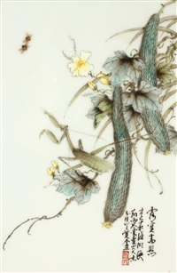 fruit, flowers and attendant insects (set of 4 works) by liu yucen