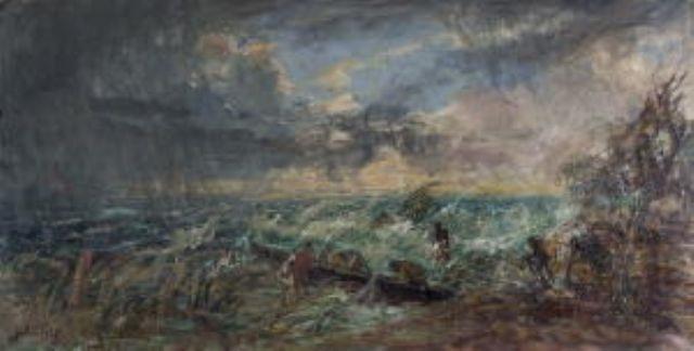 fischerboote bei stürmischer see by hans heider
