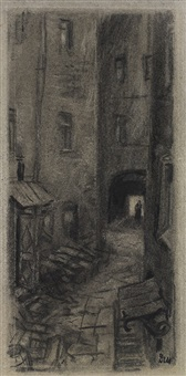 the courtyard, illustration for crime and punishment by f. dostoevsky by dementy alekseevich shmarinov