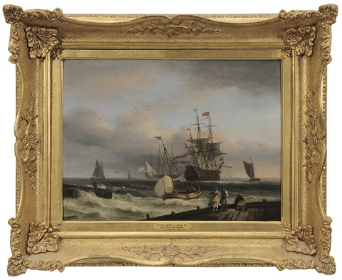 dutch man o war at anchor offshore by thomas luny