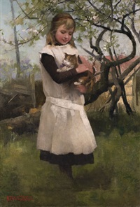 junges mädchen mit katze by floris van acker