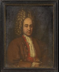 portrait of a gentleman holding a gold box by pierre mignard the elder