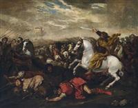 der apostel jakobus der ältere leistet dem christlichen heer in der schlacht von clavijo gegen die mauren beistand by andrea di leone