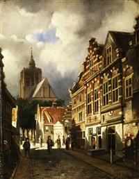 gasse mit giebelhäusern in einer niederländischen stadt by john frederik hulk the younger