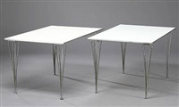 a pair of rectangular dining tables by piet hein and arne jacobsen