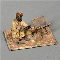figure of a bedouin calligrapher by franz bergman