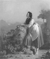 eine sennerin in der nähe ihrer almhütte blickt dem zuge wilder gänse nach by julius kockert