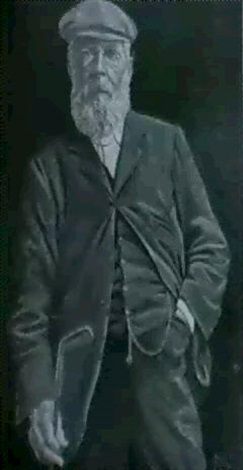 a portrait of tom morris standing three quarter length wearing a green jacket and holding a golf club by joseph austen